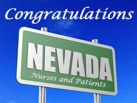 Sign congratulating Nevada Nurses and Patients