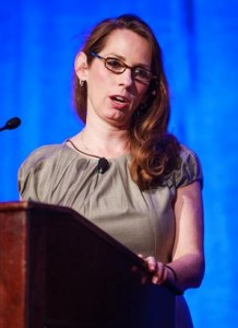 Andrea Highham of Johnson and Johnson speaks the the 2014 Summit