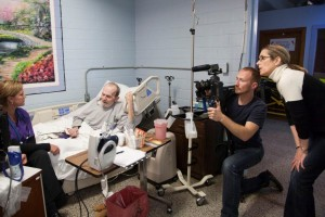 Director Carolyn Jones and Cinematographer Jaka Vinsek capture the scene as Tonia talks to one of her high-security hospice patients at the Louisiana State Penitentiary.