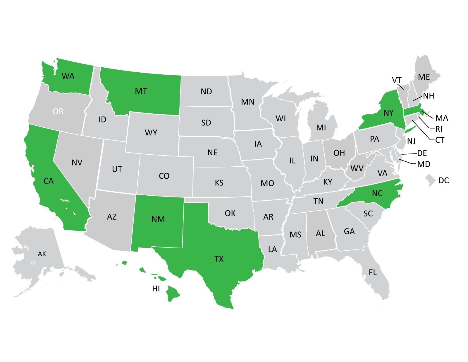 States involved in the RWJF Academic Progression in Nursing program