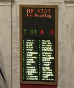 Image showing votes on HB 4334