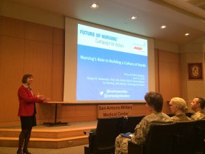 Campaign Director Susan Hassmiller speaks to a group of Army, Navy, and VA nurses at Brooke Army Medical Center Auditorium in San Antonio, TX.