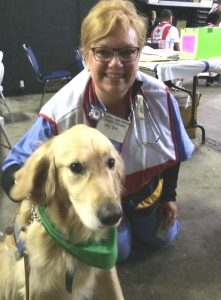 When Disaster Calls, Nurses Respond Holle_and_comfort_dog