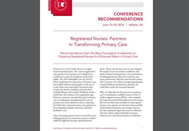 Report Recommends Ways for Nurses to Prepare for Greater Roles in Primary Care