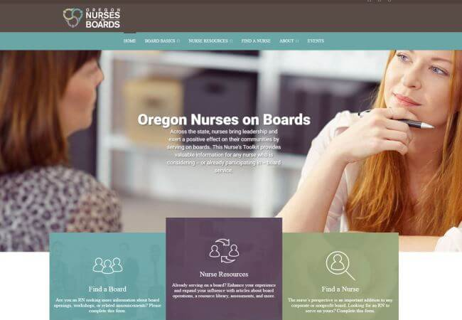 Oregon Nurses on Board Initiative website