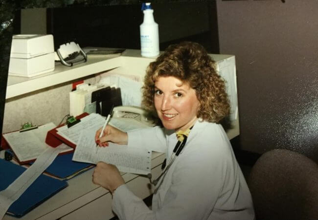 Victoria Vinton, RN, MSN, works at the ICU at Liberty Hospital in Liberty, Missouri in 1987.