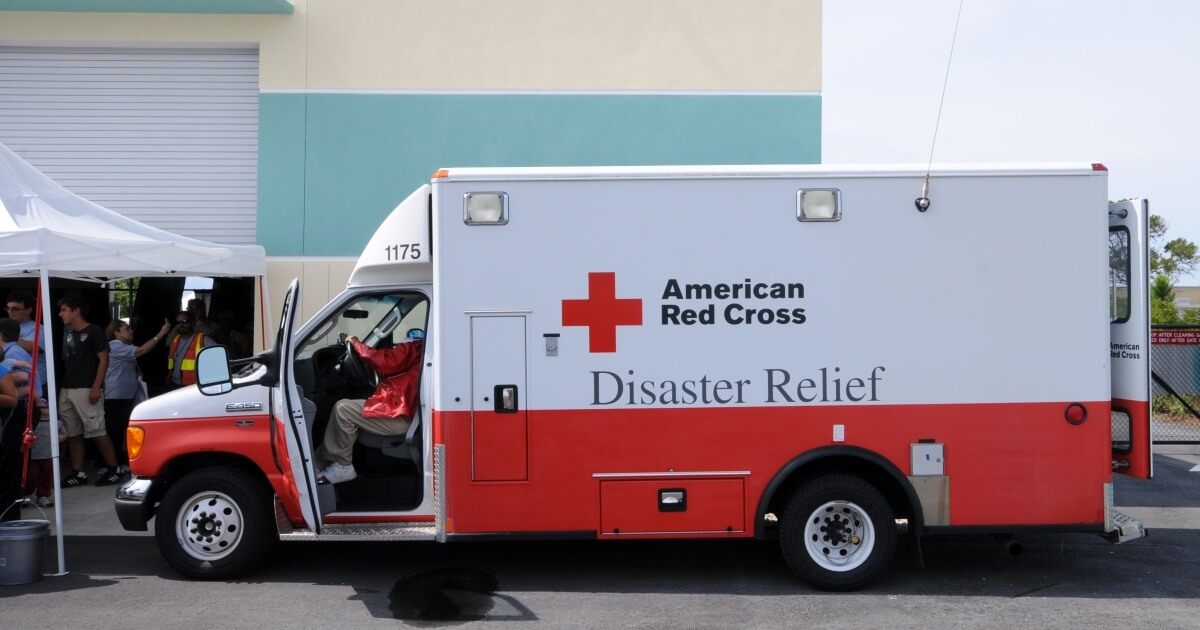 American Red Cross Disaster Relief vehicle - help those affected by Hurricane Harvey
