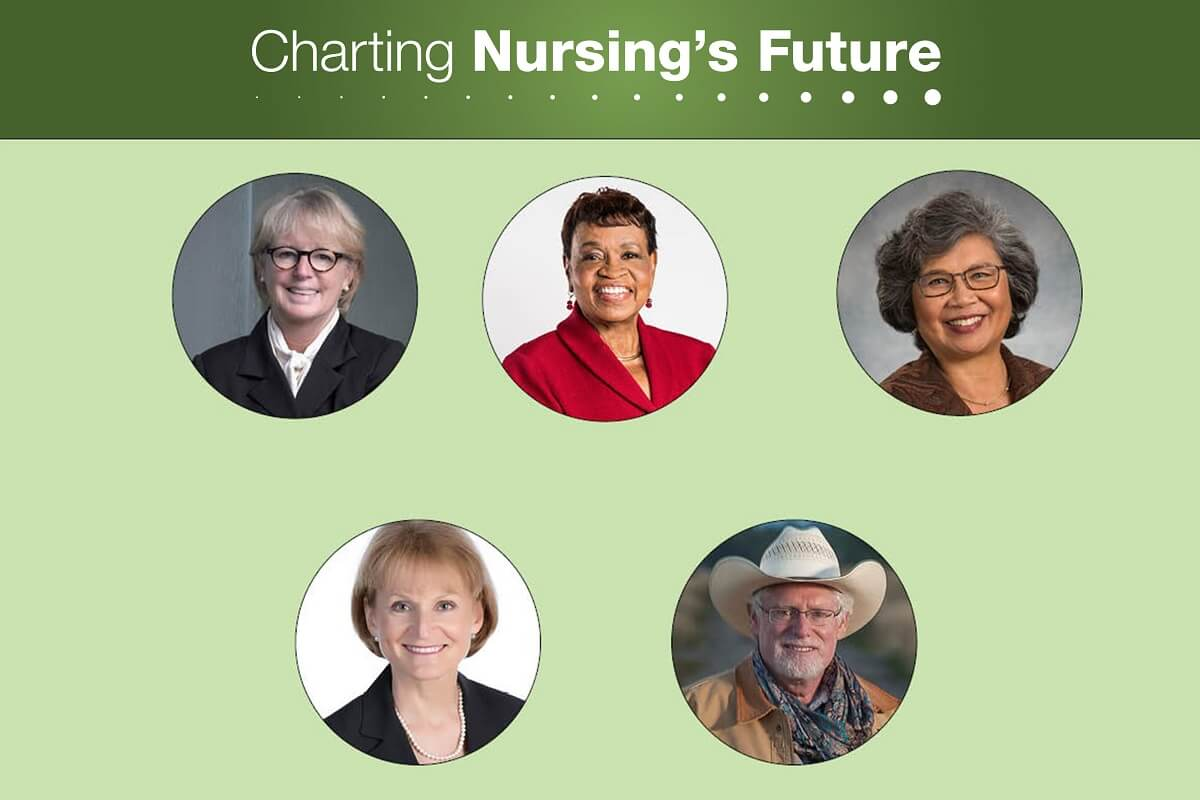 Head shots of the five nurse though leaders: Sheila Burke, Catherine Alicia Georges, Jennie Chin Hansen, Mary Wakefield, and Peter Buerhaus