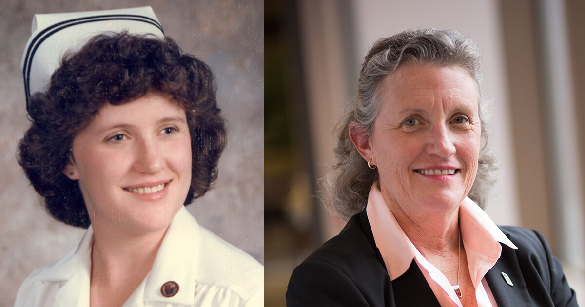 Two headshots of Jane Kirschling, the image on the left has her in her nursing cap and image to the right is her current headshot.