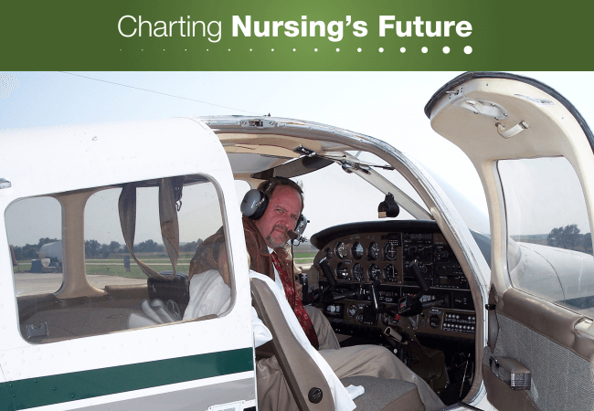 Nurse anesthetist Steve Wooden, DNP, CRNA, NSPM, pictured in his plane