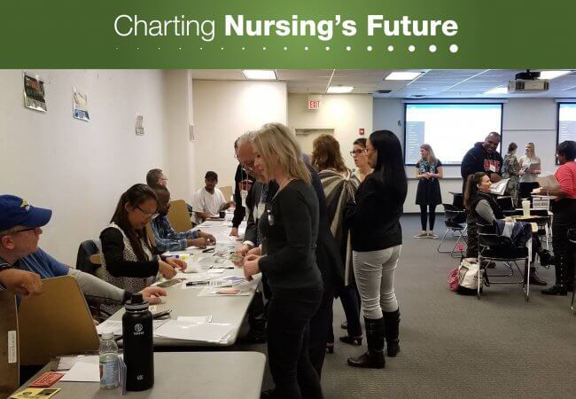 Nursing students interact with social service providers during a role-playing simulation at The College of New Jersey. Photo courtesy of the New Jersey Nursing Initiative.