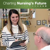 At TriHealth Bethesda Butler Hospital near Cincinnati, Ohio, nursing student Ellen Hughes interviews a patient to uncover unmet social needs that might impede his recovery.