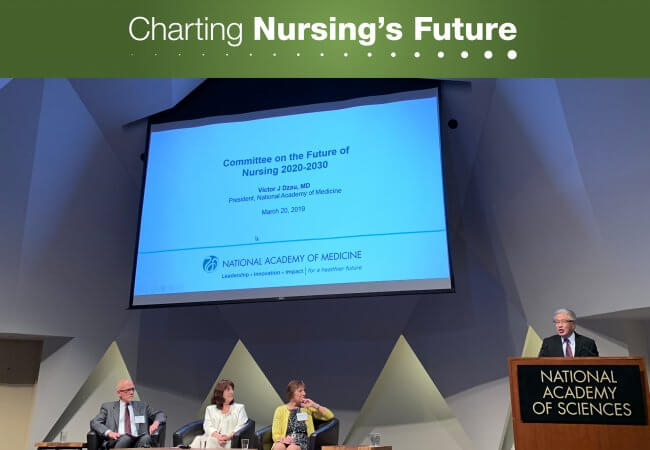 Victor Dzau, MD, president of the National Academy of Medicine, speaks at the launch of the Future of Nursing 2020–2030 study. Photo credit: Scott Tanaka.
