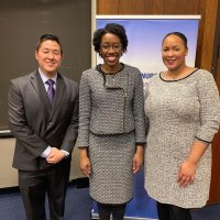 Underwood, center, is flanked by Center to Champion Nursing in America staff Scott Tanaka, left, and Jazmine Cooper, right.