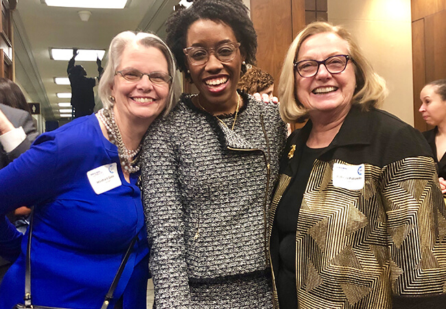 Winifred V. Quinn, director, advocacy and consumer affairs at the Center to Champion Nursing in America, left, Congresswoman Lauren Underwood (IL), center, and Patricia A. Polansky, director, program development and implementation at CCNA, right.