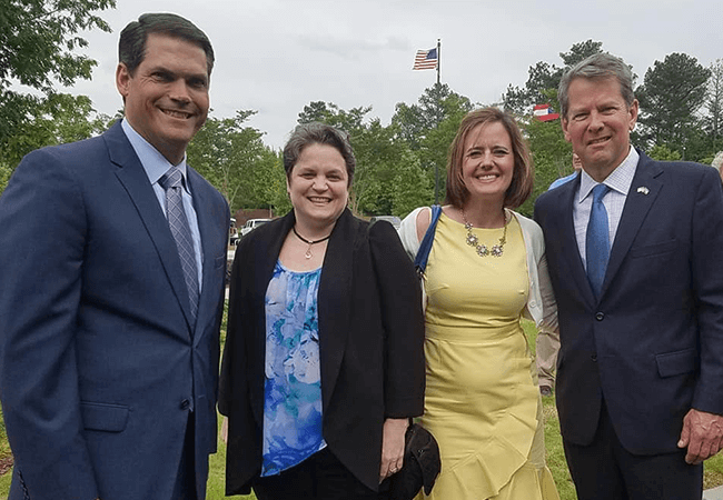 Photo of Lt. Gov Geoff Duncan, Desiree Clement CNM,Molly Bachtel, FNP, and Gov. Brian Kemp after the APRN Preceptors Gain Tax Incentives bill signing