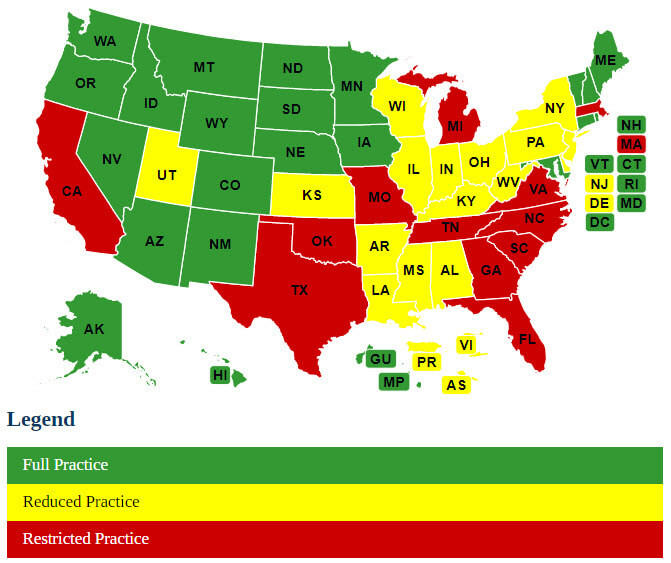 Map of Nurse Practice Laws by State   Campaign for Action
