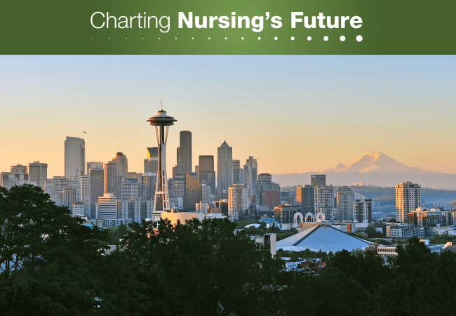 Top: Charting Nursing's Future in white text, green box. Skyline of Seattle at Dusk with the Space Needle.