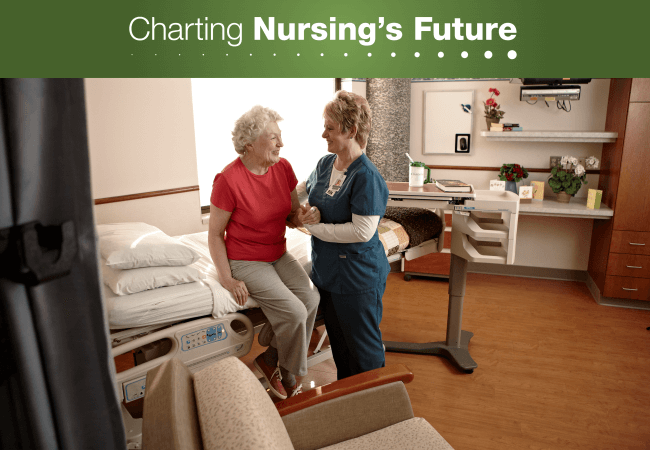 An emeritus nurse assists a patient at Parkview Health.