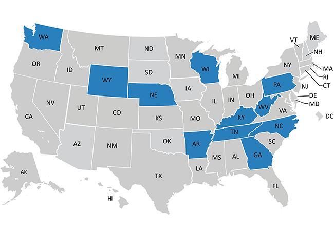 Map highlighting 2020 Nursing Innovations Fund awardee states: Arkansas and Tennessee, Georgia, Kentucky, Nebraska, North Carolina, Pennslyvania, Tennessee, Washington, West Virginia, Wisconsin, and Wyoming