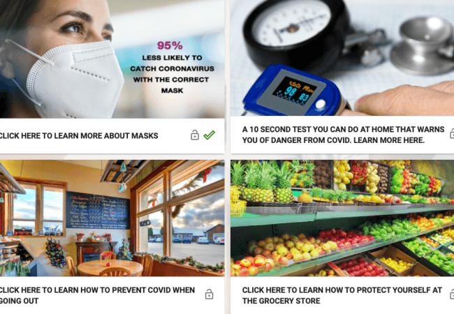 Four simulation modules appear on the homepage: Learn about masks, test you can do at home that warns you of danger from COVID, how to prevent Covid when going out, and how to protect yourself at the grocery store.