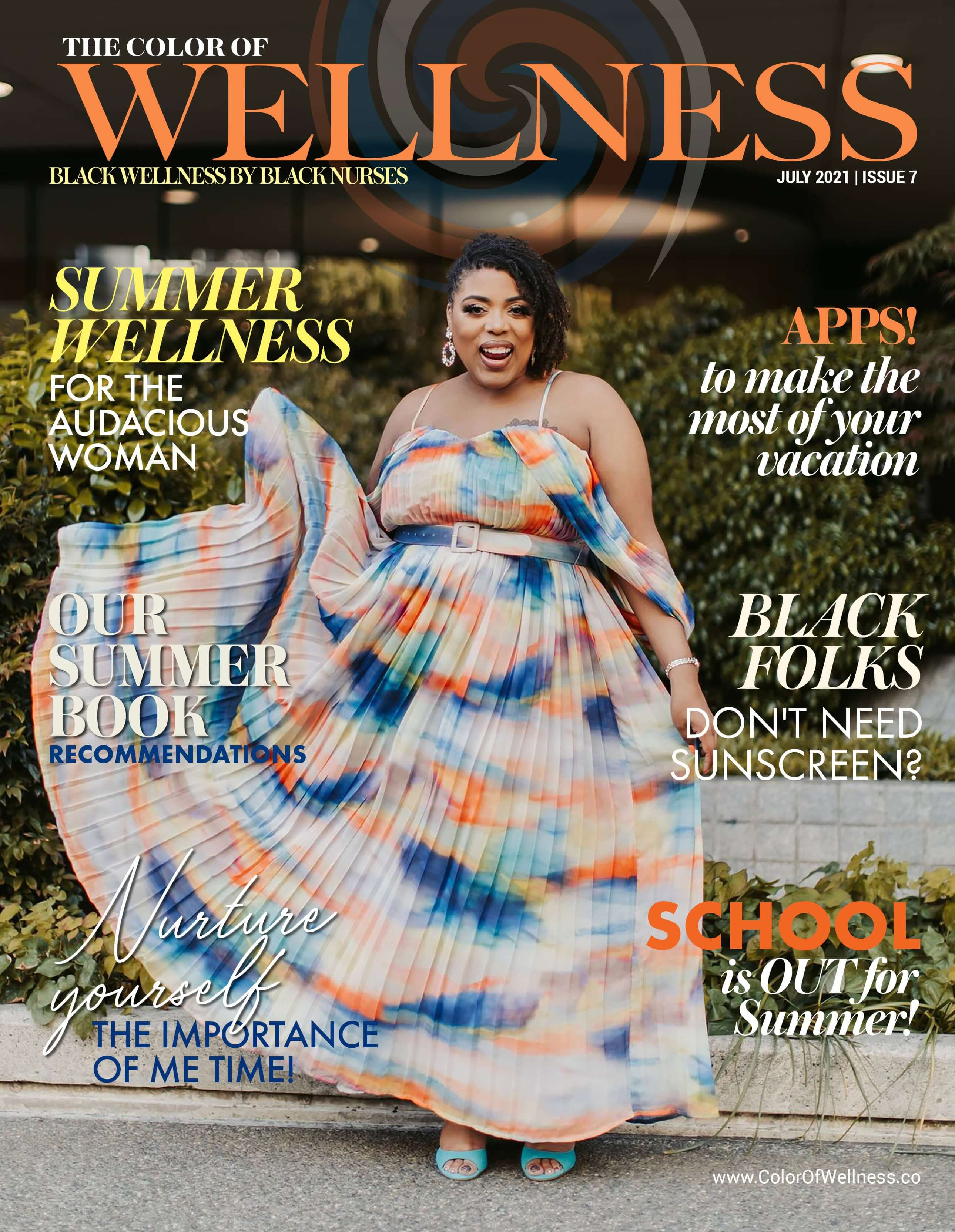 Cover of the Color of Wellness Magazine July 2021 issue 7.